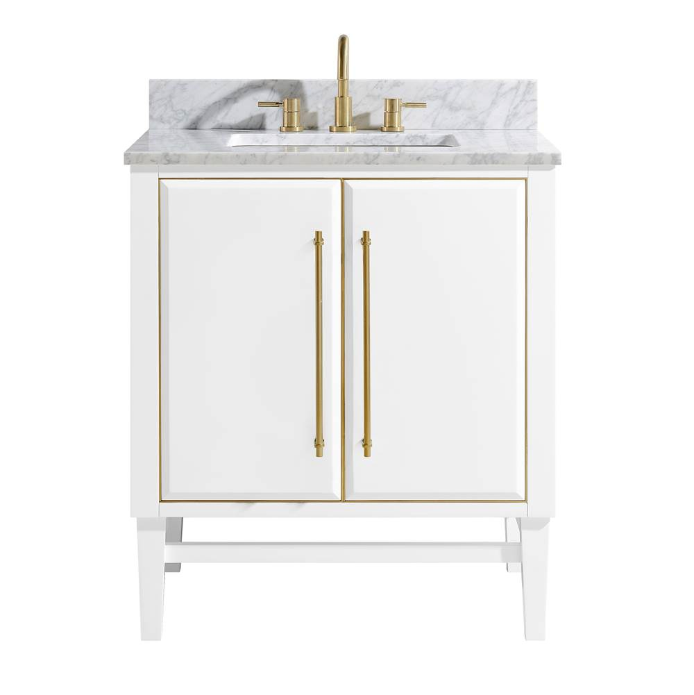 Avanity Avanity Mason 31 in. Vanity Combo in White with Gold Trim and Carrara White Marble Top