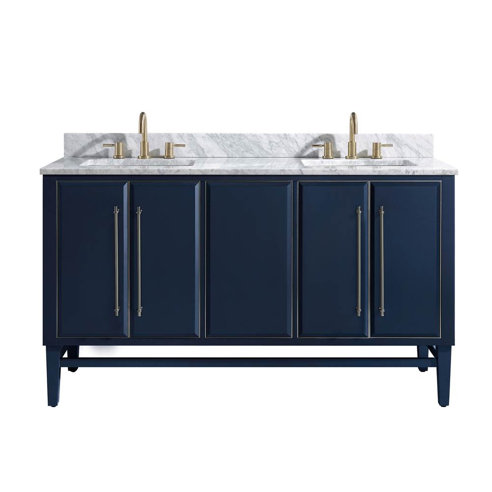 Avanity Avanity Mason 61 in. Vanity Combo in Navy Blue with Silver Trim and Carrara White Marble Top