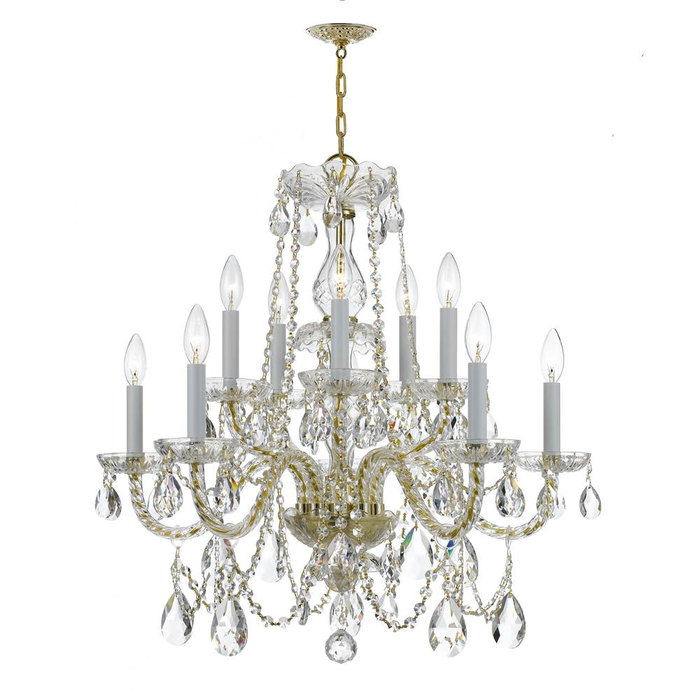 Crystorama Traditional Crystal 10 Light Clear Crystal Brass Chandelier