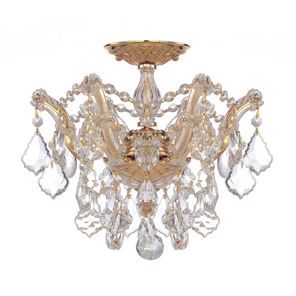 Crystorama Maria Theresa 3 Light Clear Crystal Gold Semi-Flush