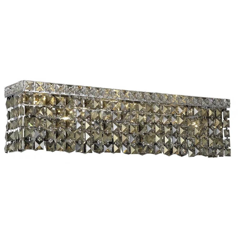Elegant Lighting Maxime 6 Light Chrome Wall Sconce Golden Teak (Smoky) Swarovski® Elements Crystal