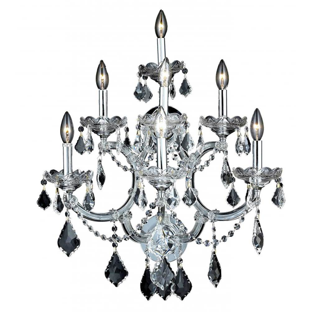 Elegant Lighting Maria Theresa 7 Light Chrome Wall Sconce Clear Royal Cut Crystal
