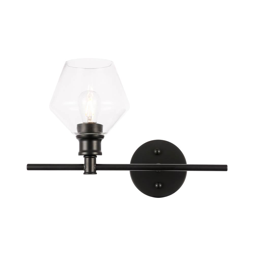 Elegant Lighting Gene 1 light Black and Clear glass right Wall sconce