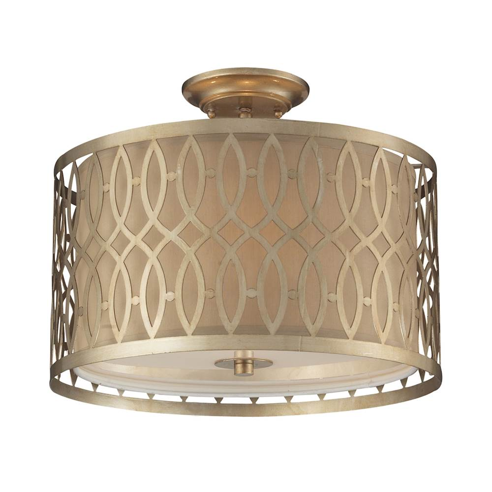 Elk Lighting Estonia 3-Light Semi Flush in Aged Silver with Metal and Beige Fabric Shade