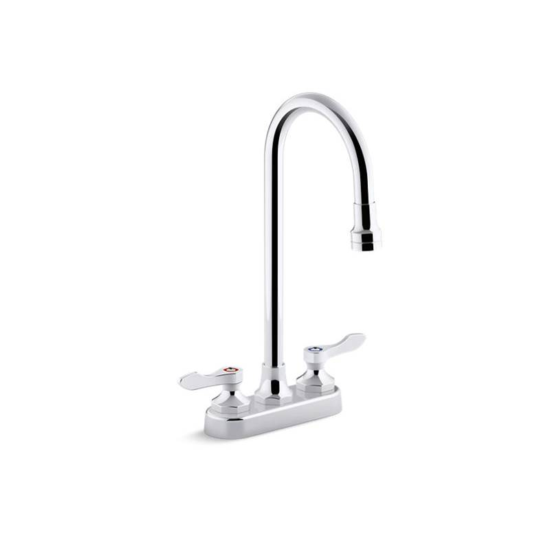 Kohler Triton Bowe 0.5 gpm Centerset Bathroom Sink Faucet with Laminar Flow, Gooseneck Spout and Lever Handles, Drain Not Included