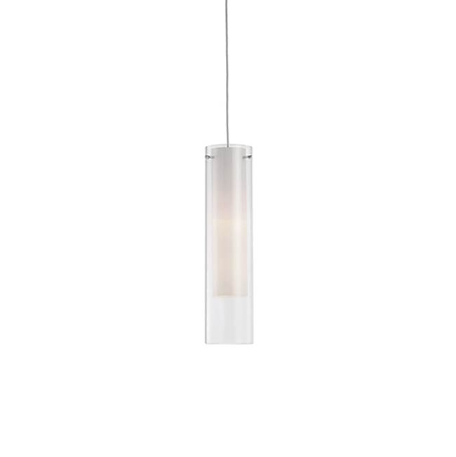 Kuzco Single Lamp Pendant With Clear Cylinder Glass And White Opal Inner Cylinder Glass. Chrome Metal Details.
