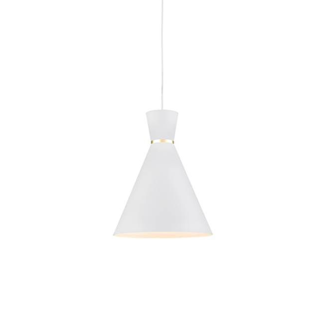 Kuzco Single Lamp Pendant With Conical Aluminum Shade With Fine Powder-Coated Finishes And Anodized Gold Ring Detail. Exterior Shade Colors Are White O…