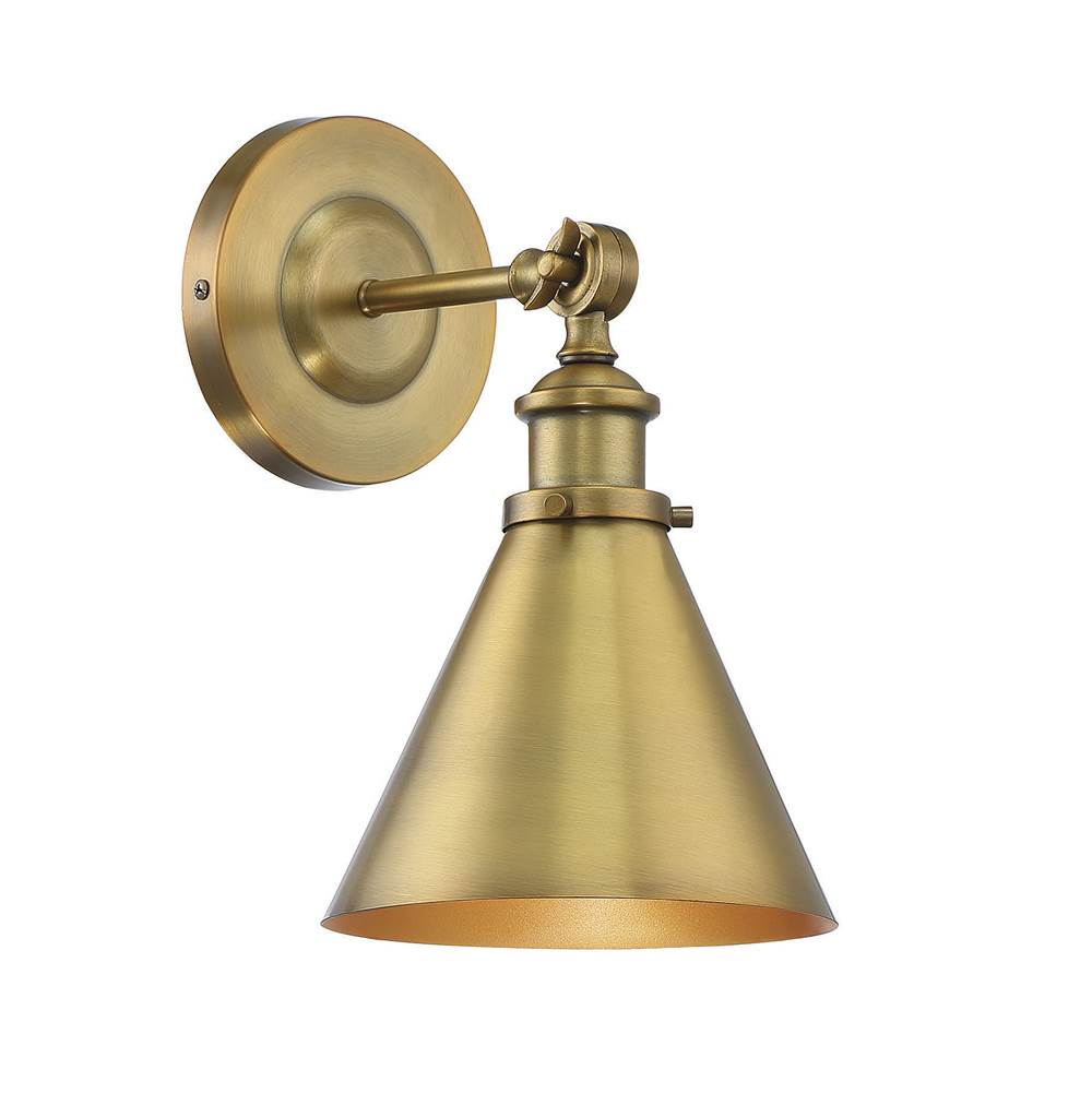 Savoy House Glenn 1 Light Warm Brass Wall Sconce