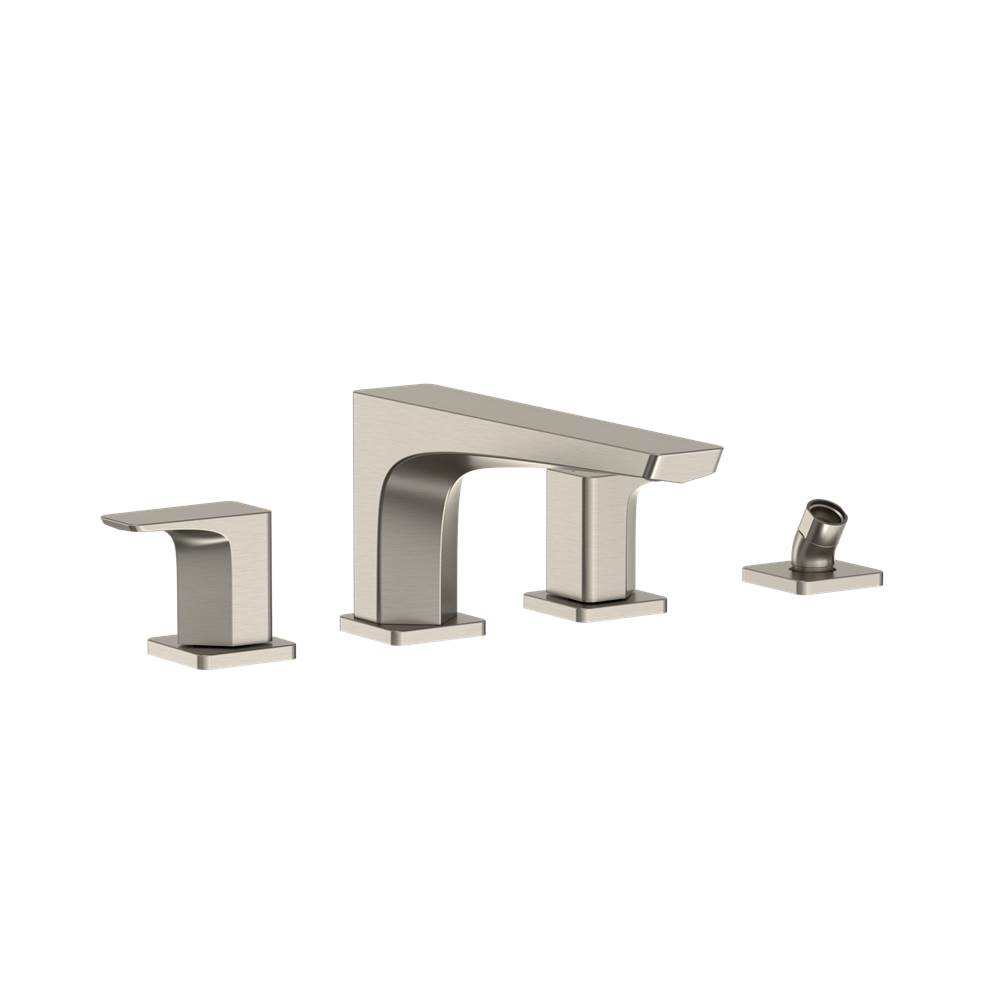 Toto GE Two-Handle Deck-Mount Roman Tub Filler Trim with Handshower, Brushed Nickel
