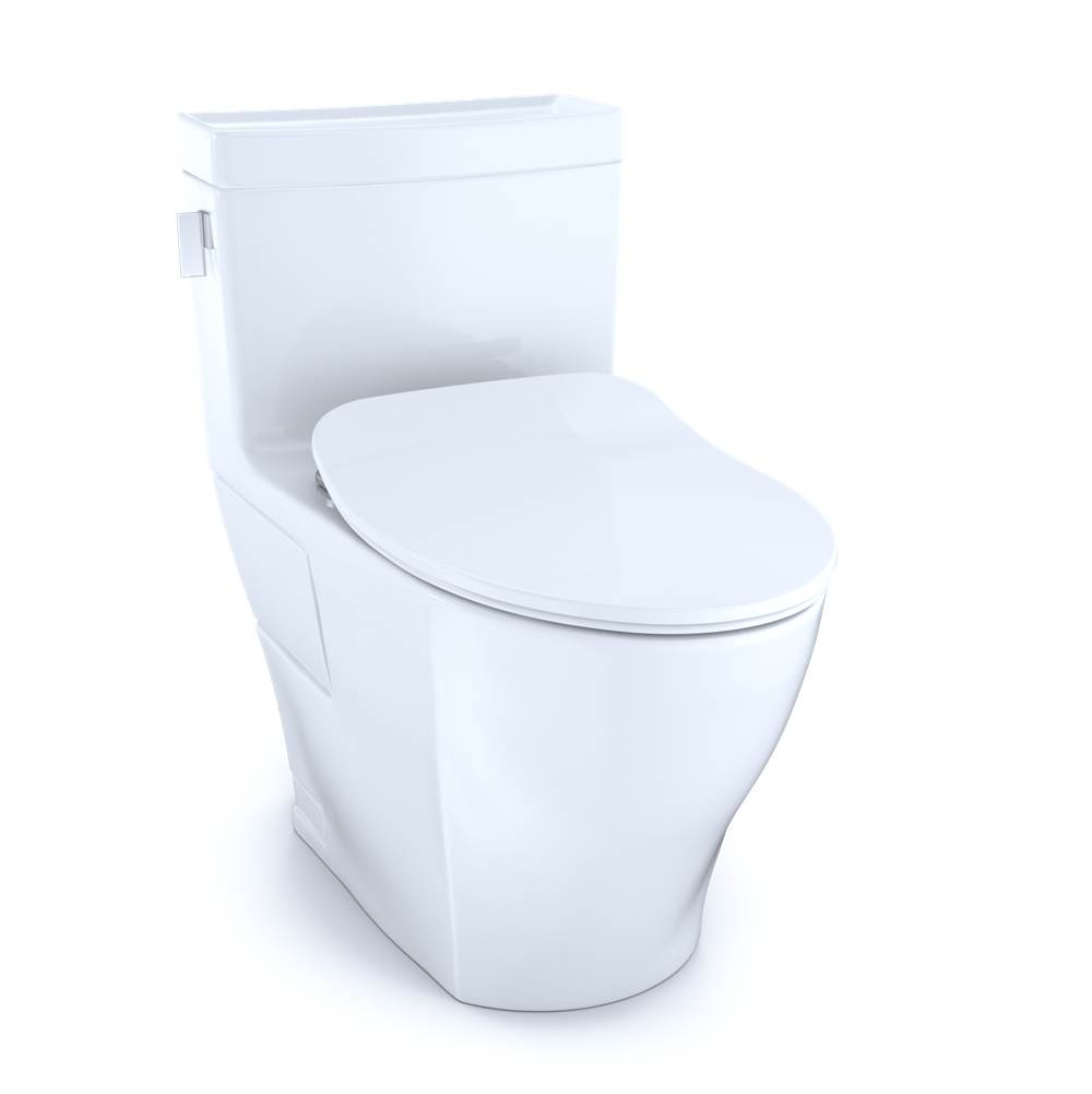 Toto Legato® One-Piece Elongated 1.28 GPF Toilet with CEFIONTECT® and SoftClose® Seat, WASHLET®+ Ready, Cotton White