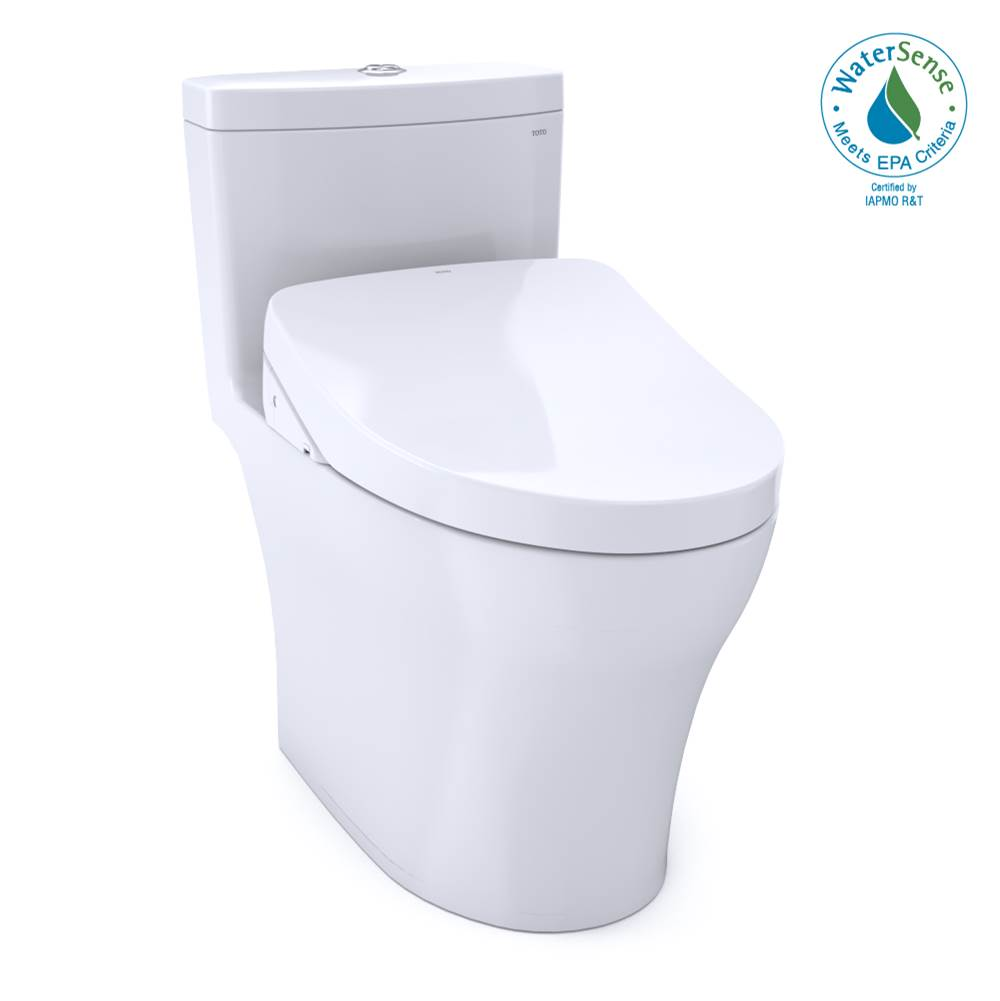 Toto WASHLET®+ Aquia® IV 1G® One-Piece Elongated Dual Flush 1.0 and 0.8 GPF Toilet with S500e Electric Bidet Seat, Cotton White-