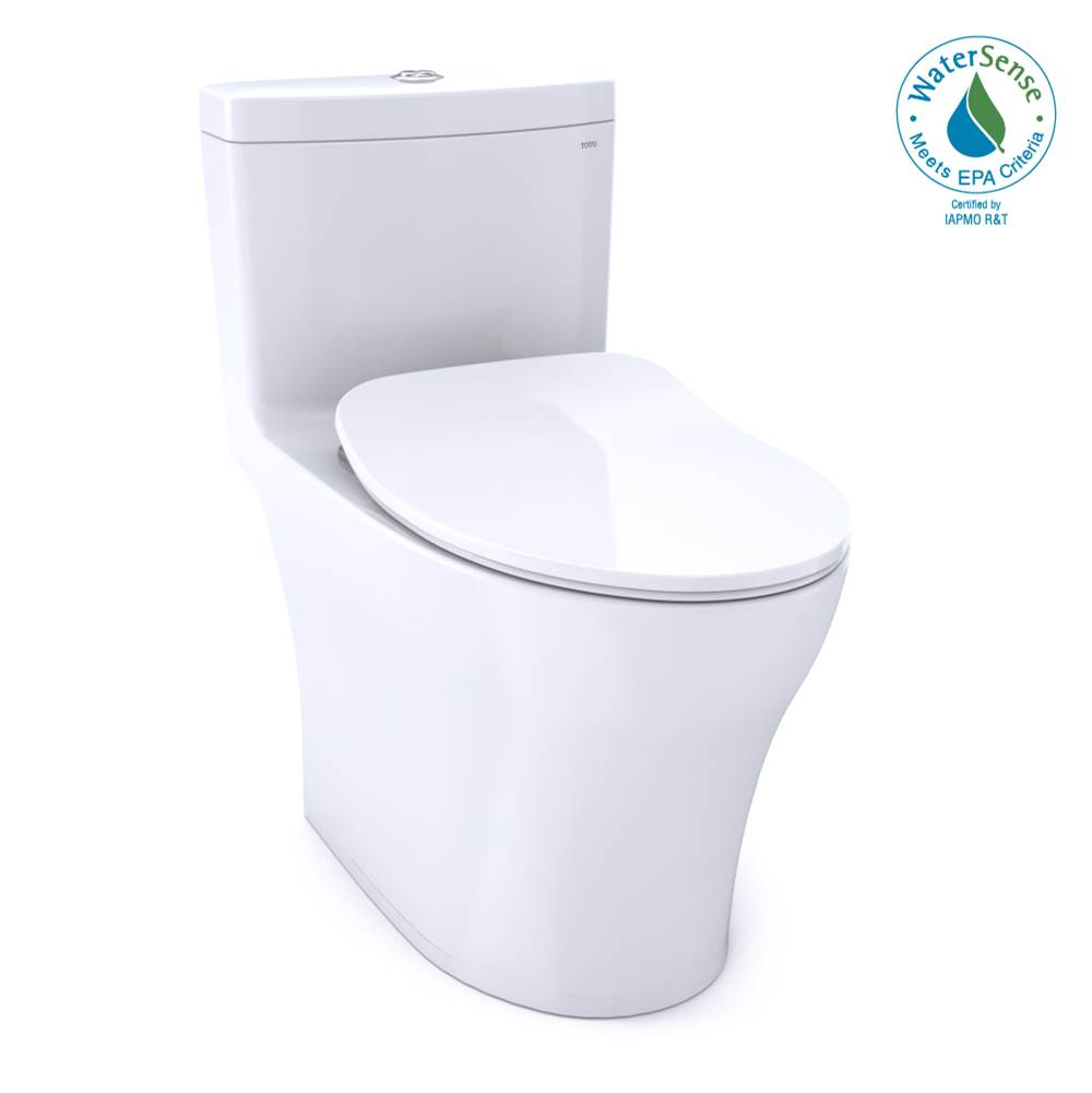 Toto Aquia® IV One-Piece Elongated Dual Flush 1.28 and 0.8 GPF Universal Height, WASHLET®+ Ready Toilet with CEFIONTECT®, Cotton White