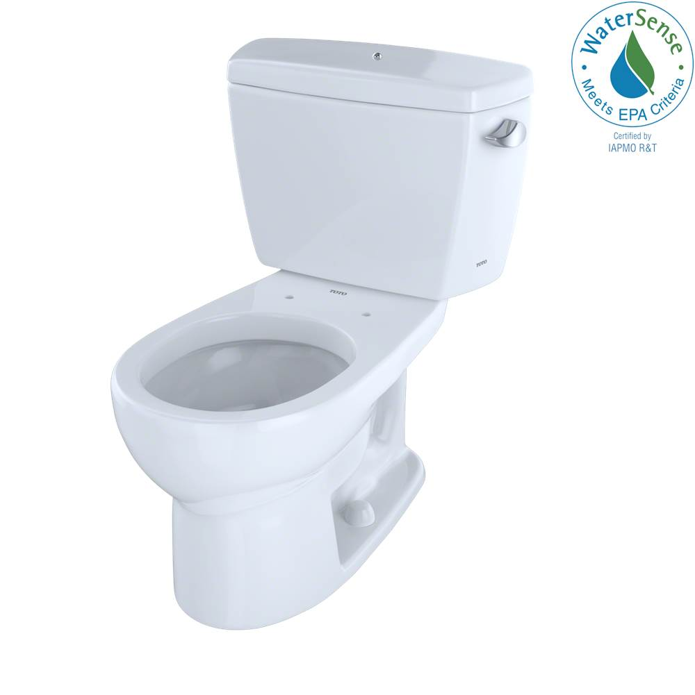 Toto Eco Drake® Two-Piece Round 1.28 GPF Toilet with Right-Hand Trip Lever and Bolt Down Tank Lid, Cotton White