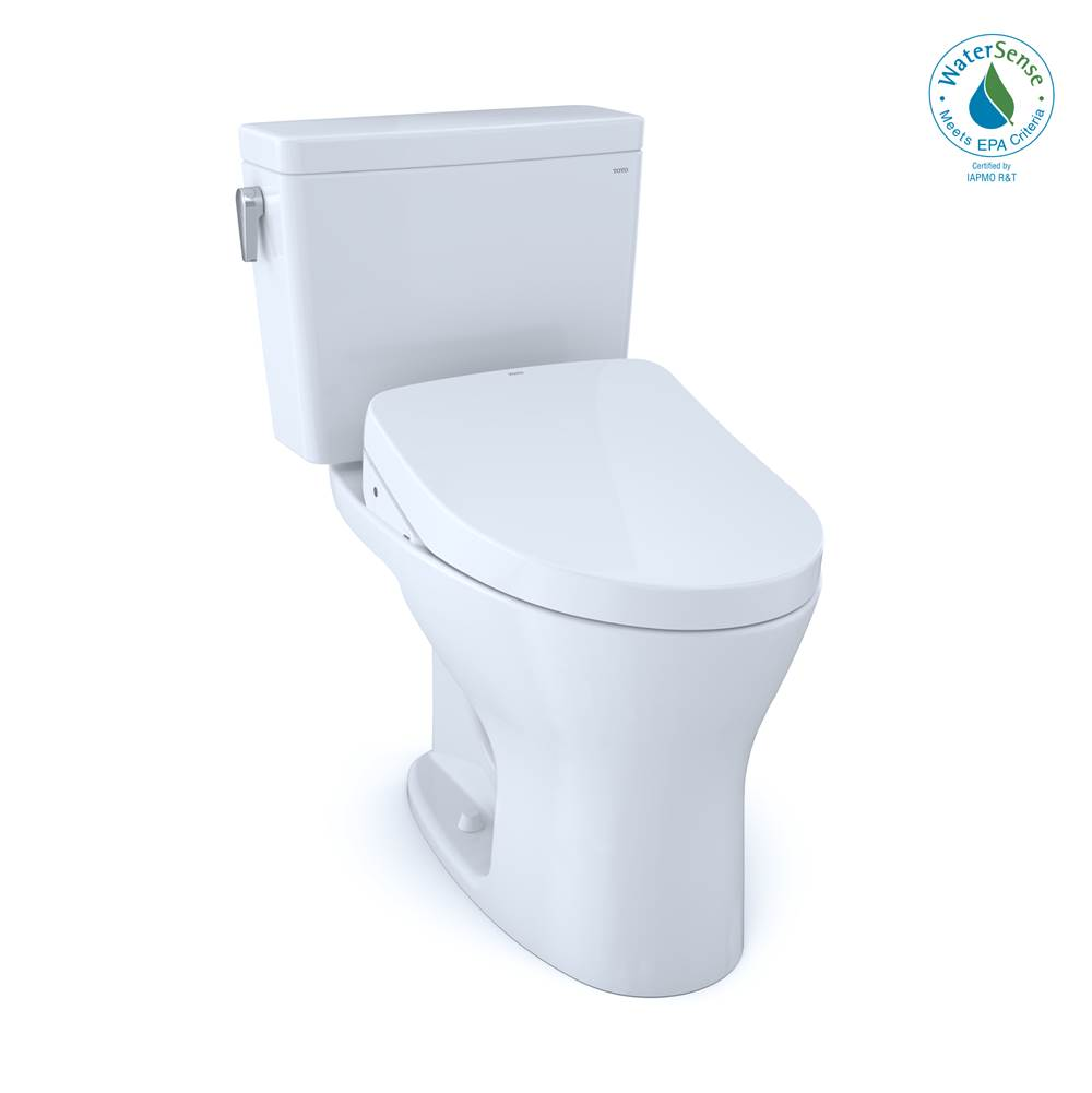 Toto Drake® WASHLET®+ Two-Piece Elongated Dual Flush 1.28 and 0.8 GPF DYNAMAX TORNADO FLUSH® Toilet with S500e Bidet Seat, Cotton White