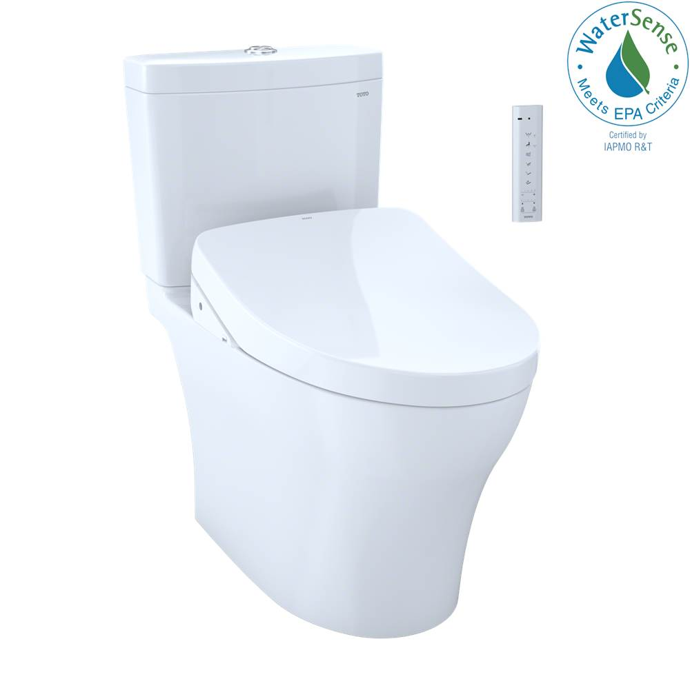 Toto WASHLET®+ Aquia IV Two-Piece Elongated Dual Flush 1.28 and 0.8 GPF Toilet and with Auto Flush S550e Bidet Seat, Cotton White