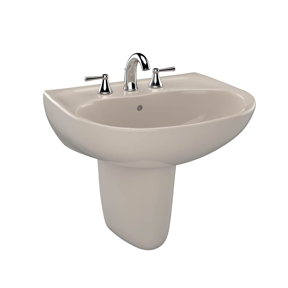 Toto Supreme® Oval Wall-Mount Bathroom Sink with CEFIONTECT and Shroud for 8 Inch Center Faucets, Bone