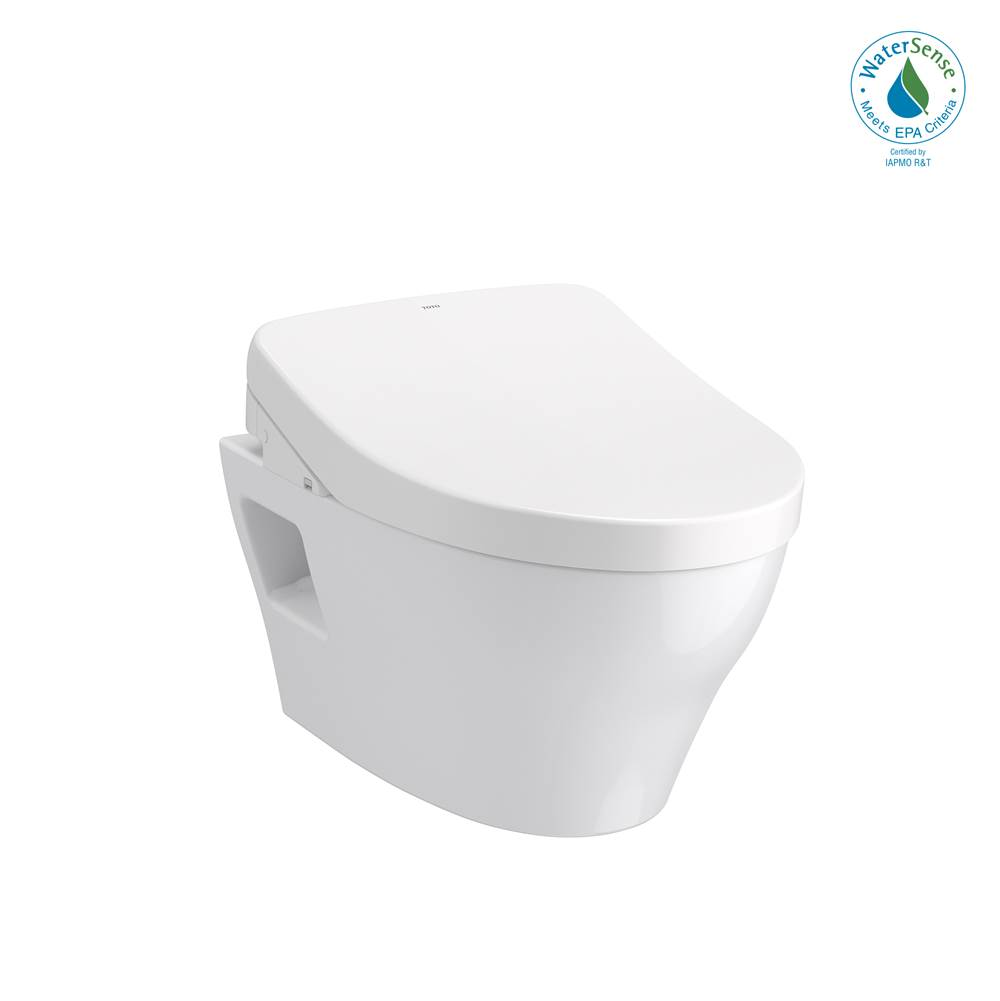 Toto WASHLET®+ EP Wall-Hung Elongated Toilet with S550e Bidet Seat and DuoFit® In-Wall 0.9 and 1.28 GPF Auto Dual-Flush Tank System, Matte Silve