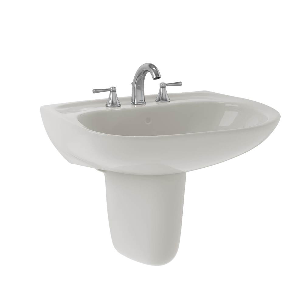 Toto Prominence® Oval Wall-Mount Bathroom Sink with CEFIONTECT and Shroud for 4 Inch Center Faucets, Colonial White