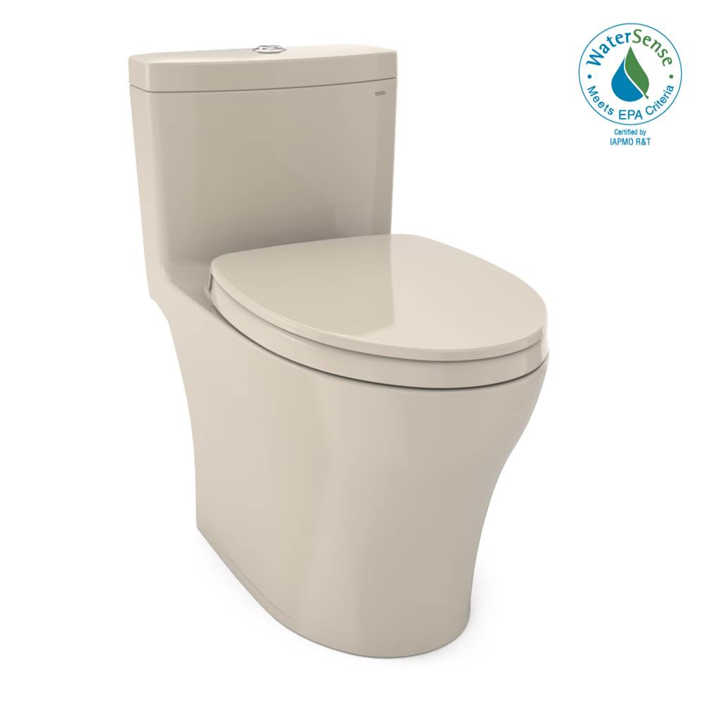 Toto Aquia® IV One-Piece Elongated Dual Flush 1.28 and 0.8 GPF Universal Height, WASHLET®+ Ready Toilet with CEFIONTECT®, Bone-